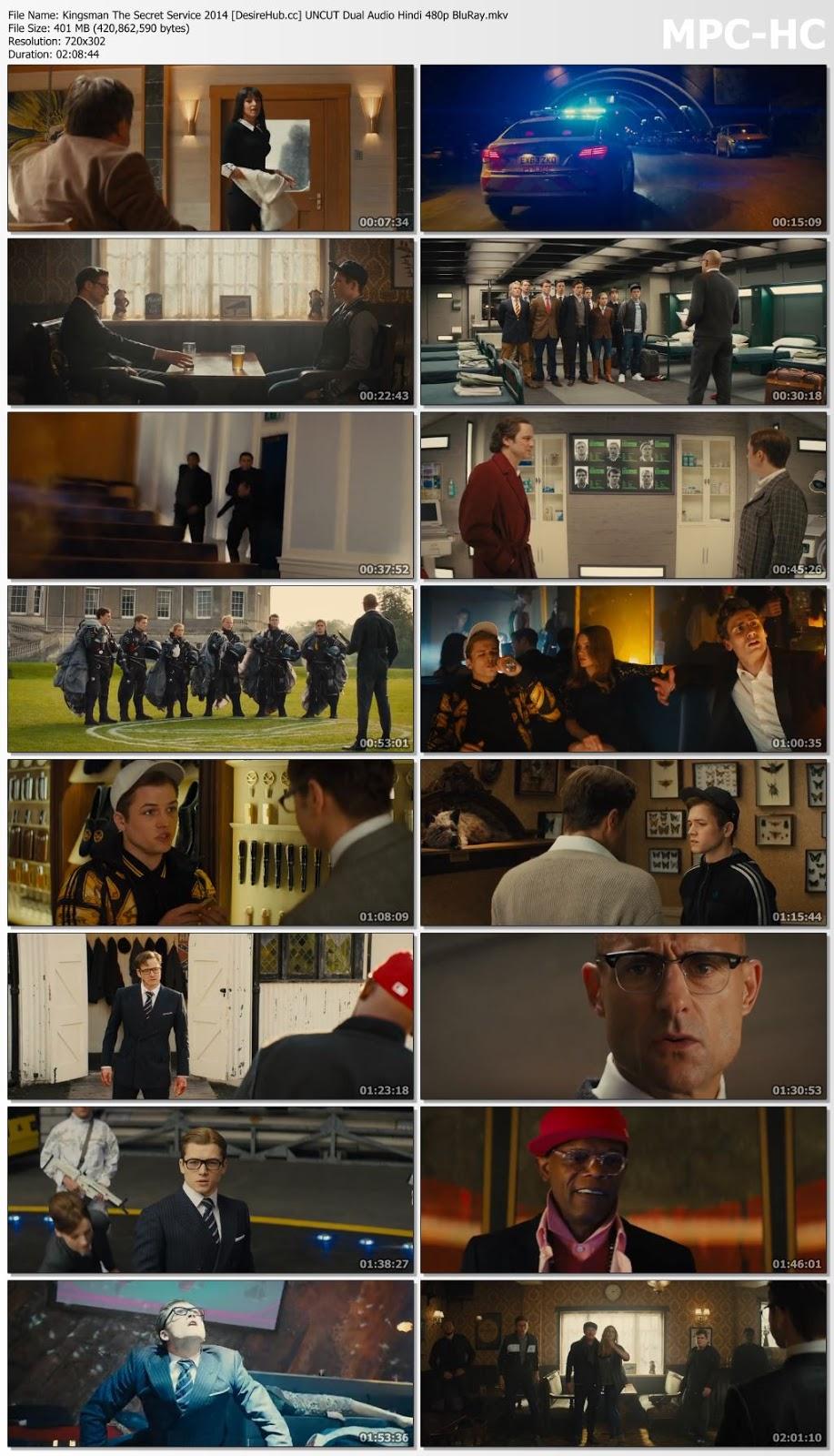 Kingsman The Secret Service 2014 UNCUT Dual Audio Hindi 480p BluRay 400MB Desirehub