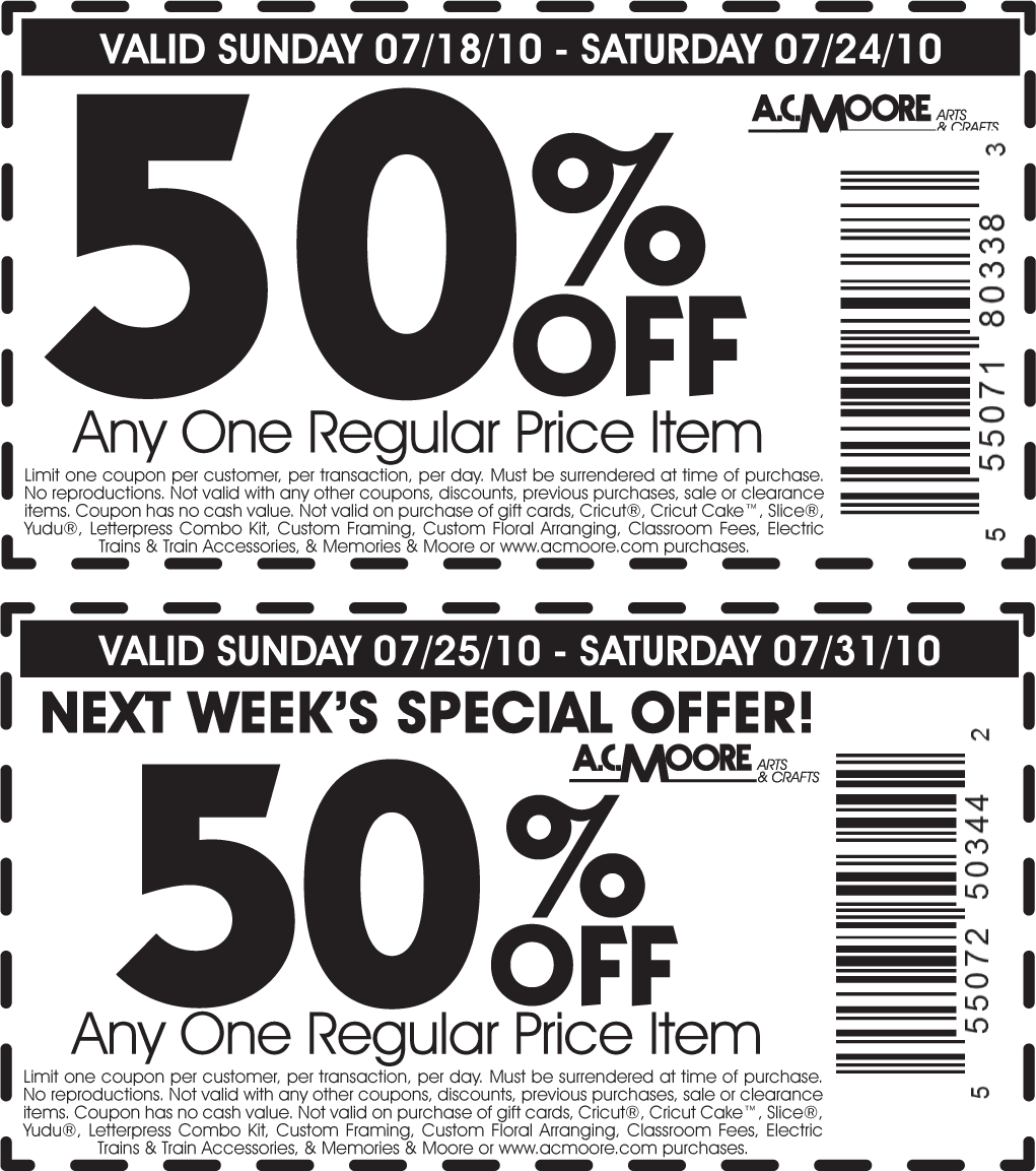 Ac moore craft store coupons - 2 year dating anniversary gift