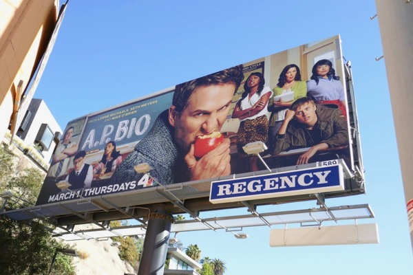 AP Bio series premiere billboard
