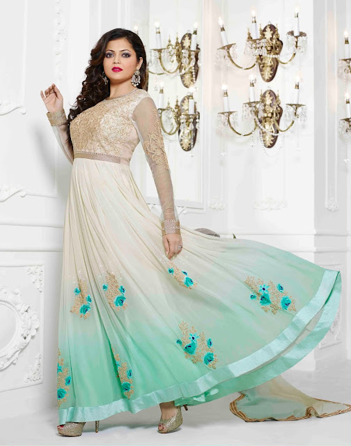 Cream Georgette Designer Anarkali Suit With A Chiffon Dupatta