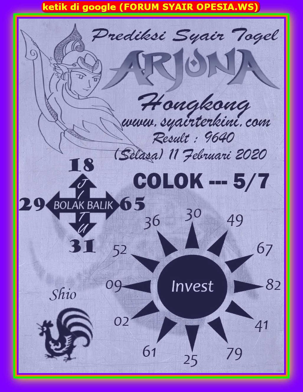 Kode syair Hongkong Selasa 11 Februari 2020 85