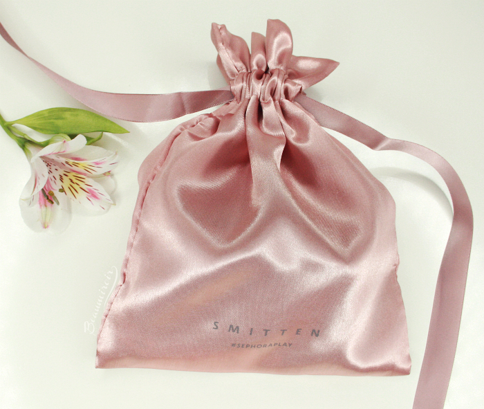 silk satin Smitten drawstring bag ribbon blush pink