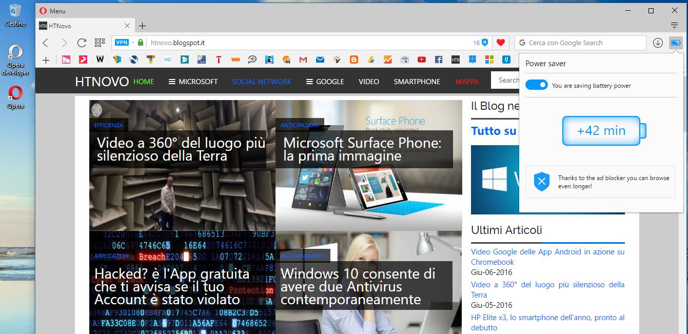 Notebook più freddo e autonomia +50% con Opera Browser 2