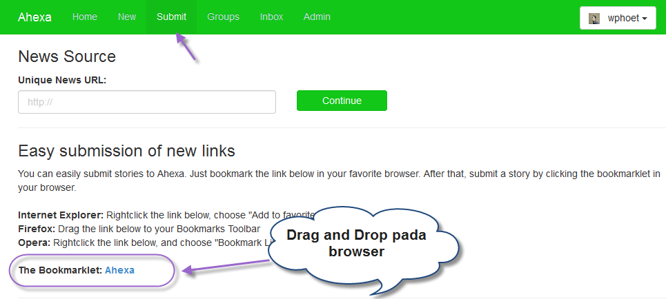 Bookmarklet Pada halaman Submit Yang Harus Di Drag And Drop Pada Toolbar Browser