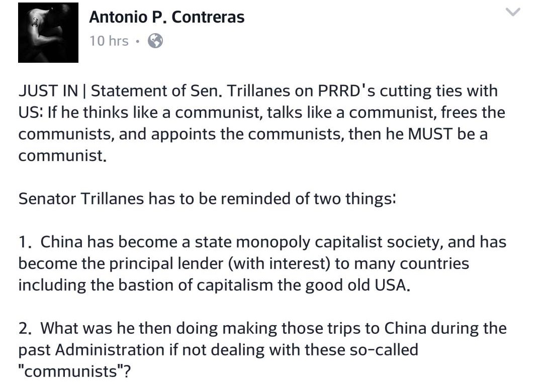 "DLSU professor on Trillanes calling China and PRD ""communists"": What were you doing in there in your trips during the last admin?"