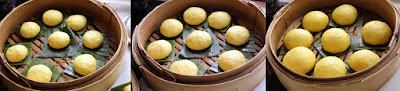 Pumpkin glutinous rice bun ( xi ban )