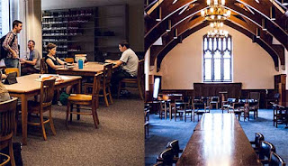 Duke divinity library, two views; photo by Duke Divinity Library