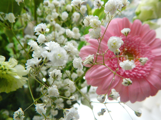 A photo of babys breath flowers, in a bouquet from Prestige Flowers