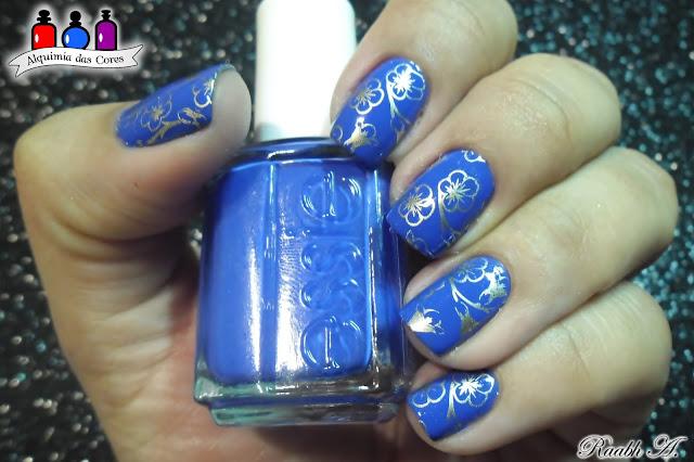 Butler Please, Azul Elétrico, Electric Blue, Good as Gold, BP-L029, Flores, nail art, esmalte, nail polish, Raabh A, Nail Stamp, unhas carimbadas,