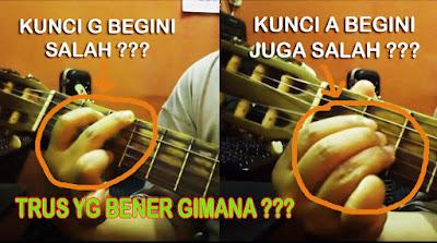 belajar kunci gitar untuk pemula, belajar kunci gitar G mayor dan A mayor