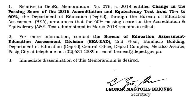 DepEd ALS AE passing rate 60%