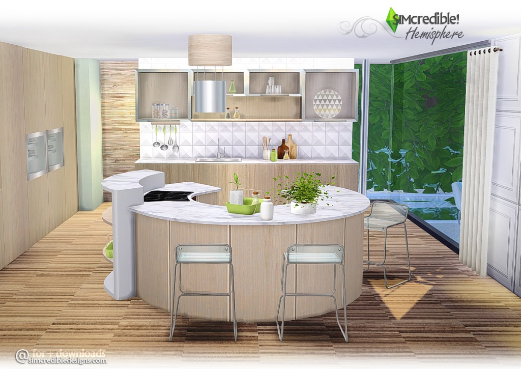 My sims 4 blog hemisphere kitchen set by simcredible designs for Sims 4 kitchen designs