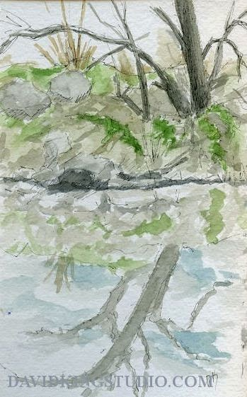 art sketch pen watercolor plein air water tree