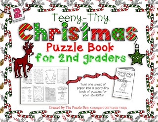 The Puzzle Den - Teeny-Tiny Christmas Puzzle Book for Second Graders