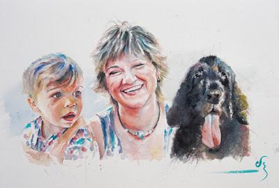 Retrato en acuarela de niño, mujer y perro