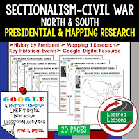Google, Sectionalism and Civil War,  American History Research Graphic Organizers, American History Map Activities, American History Digital Interactive Notebook, American History Presidential Research, American History Summer School