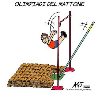 olimpiadi, roma2024, raggi, mattone, olimpiadi del mattone, vignetta, satira