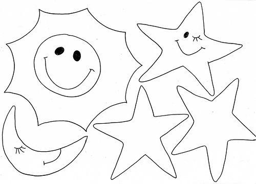 plantilla de col, luna y estrellas  para manualidades niños