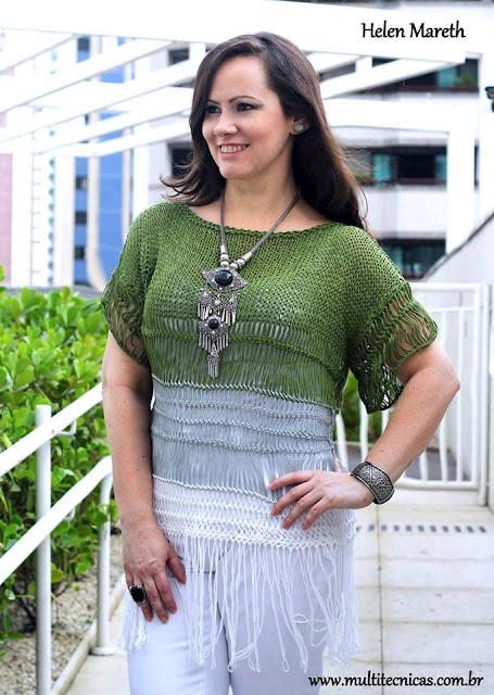 blusa croche de grampo e trico