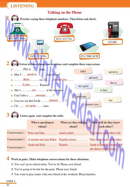 Tutku Yayınları 8. Sınıf İngilizce Ders Kitabı Cevapları Sayfa 44