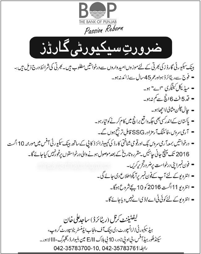 Security Guards Jobs in The Bank of Punjab 2016