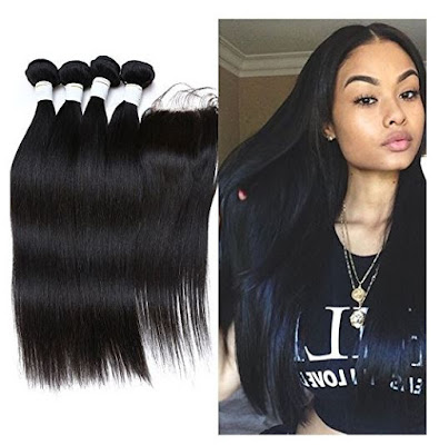 Lace Closure + Peruvian Virgin Hair Straight Wave by JieFar