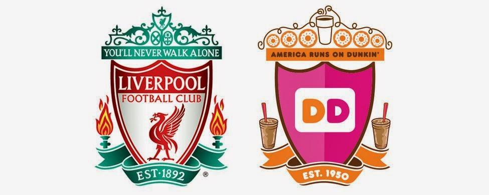 Escudos del Liverpool y la adaptación de Dunkin Donuts