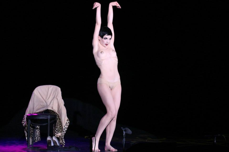 Laurie Hagen performs her incredible reverse striptease, which won 'Most Innovative' at The Burlesque Hall of Fame Weekend 2013. ©Richard Just (Trixie Little's B.I.G. Awards)