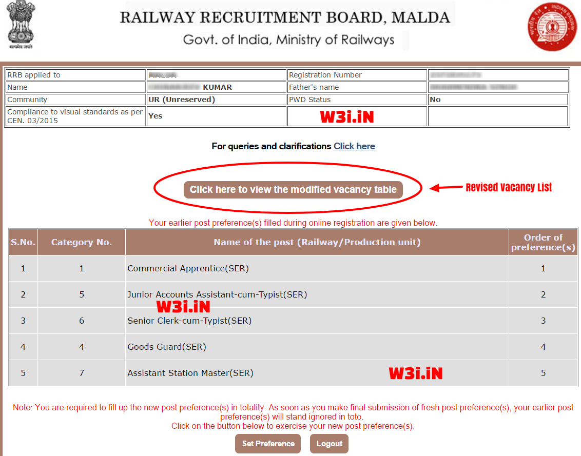 Change RRB NTPC Post Preference, Fill RRB NTPC Post Preference, Railway ASM Post Preference
