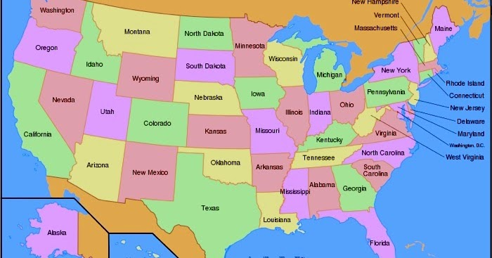 Map Of All 50 Us States Printable Map of USA