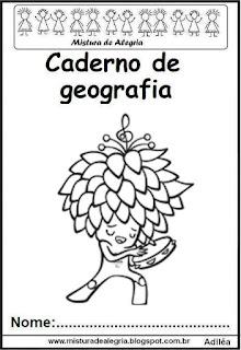 Capa caderno de geografia-mascote Tom