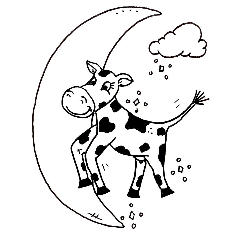 Cow Jumped Over The Moon Page Coloring Pages