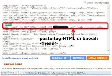 Cara Pasang Kode Verifikasi Google pada Blog