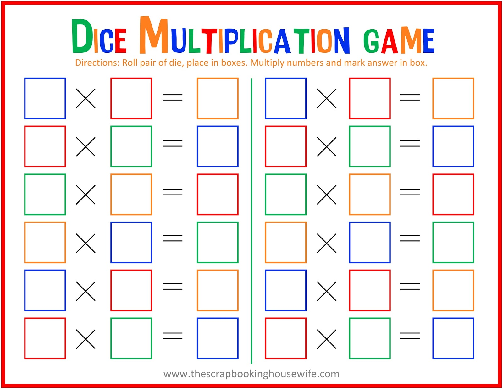 Ellabella Designs: Dice Multiplication MATH Game for Kids - Free ...