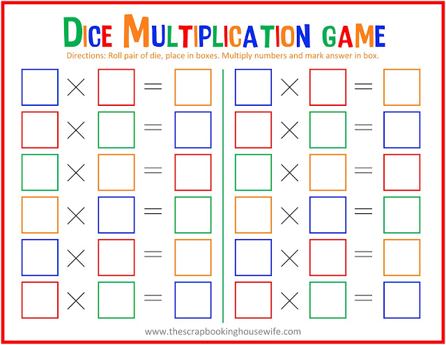 Dice Multiplication Math Game for Kids - Free Printable from The Scrapbooking Housewife