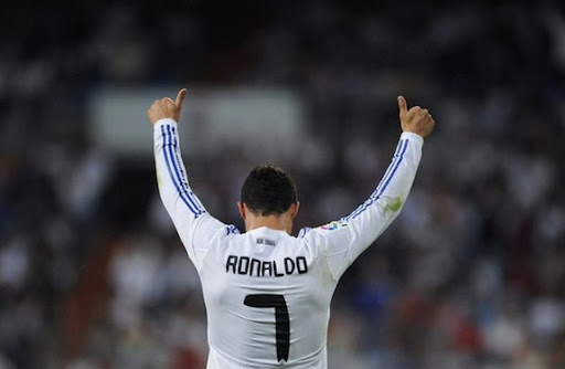 Cristiano Ronaldo celebrates after scoring his 40th goal for Real Madrid this season