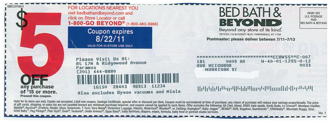 Bed Bath and Beyond free coupon and shopping guide: $5 off ...
