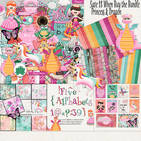 Princess & Dragon Digital Scrapbooking Kit