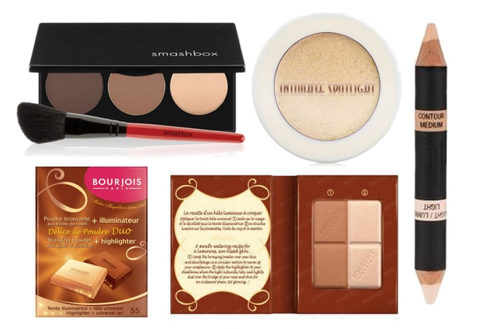 A picture of contouring, bronzer and highlighters