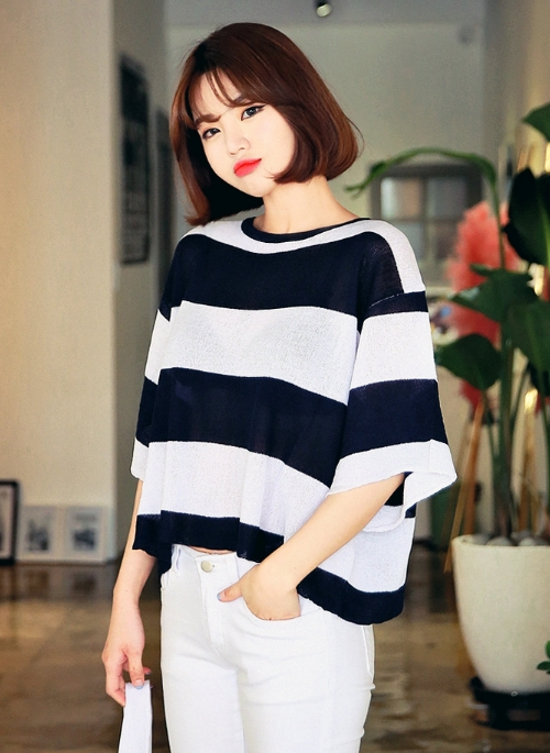 Wide Stripe Sheer Knit Pullover