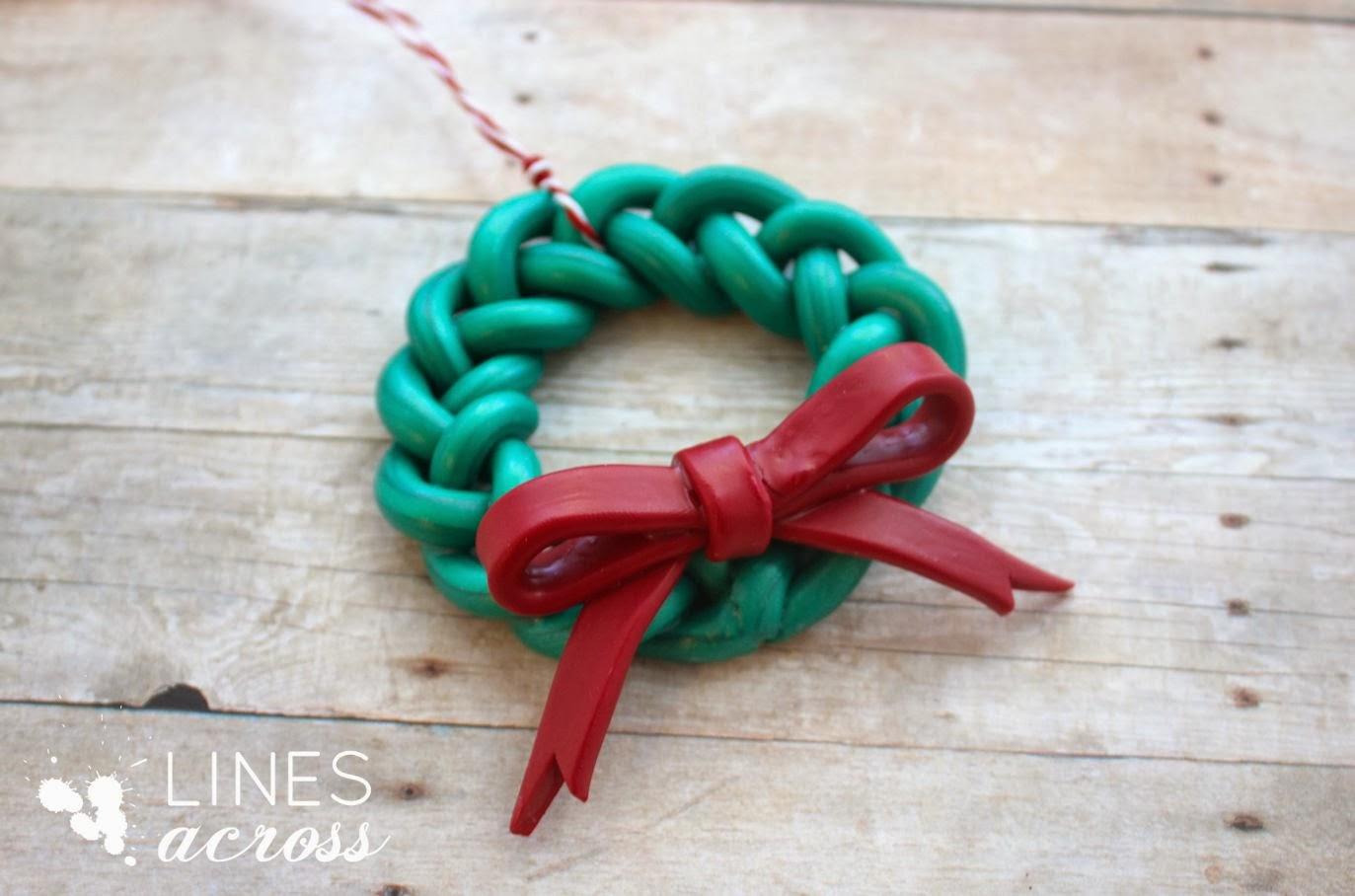 Handmade Braided Wreath Ornament - Lines Across