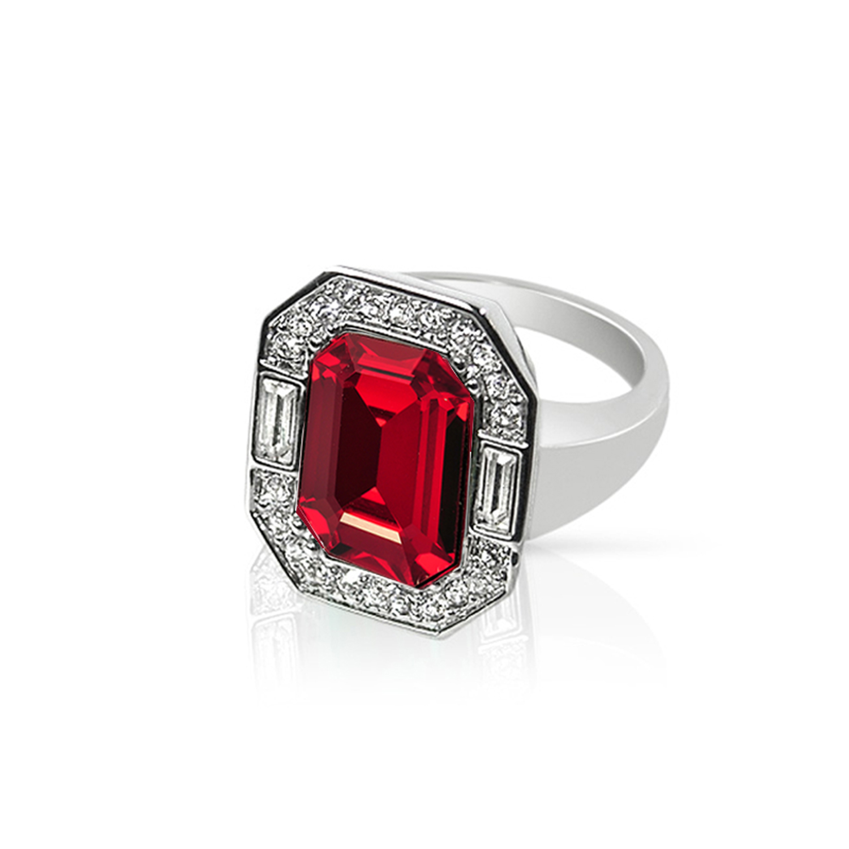 d874b9792 Cristalina Wallis Art Deco Style Siam Red Swarovski Crystal Statement Ring