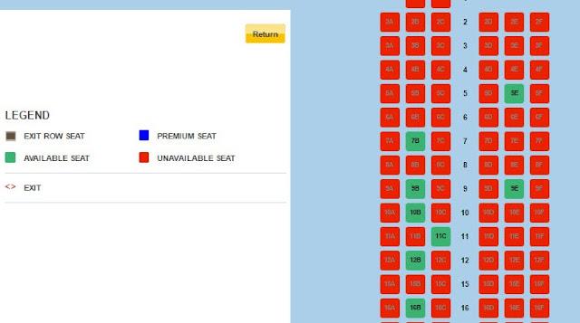 Pilih seat Lion Air