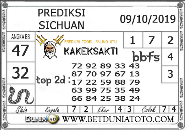 """Prediksi Togel """"SICHUAN"""" DUNIA4D 09 OKTOBER 2019"""