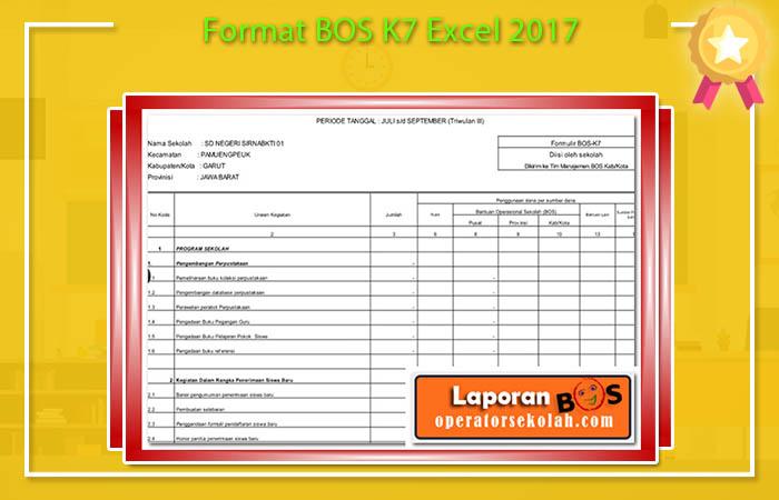 Format BOS K7 Excel 2017
