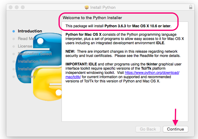 for Python Students: download and install a Python for Mac