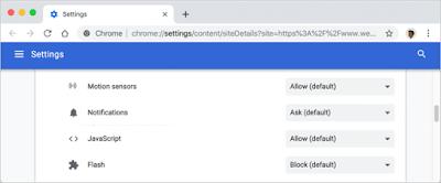 حظر JavaScript في Chrome