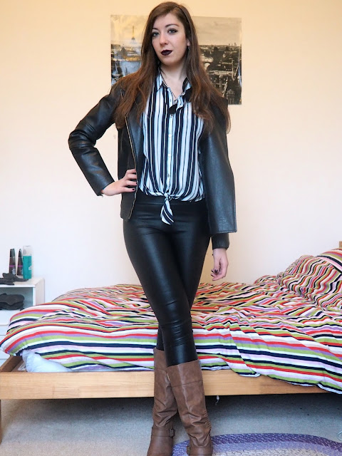 Drink Up Me Hearties - Jack Sparrow Disneybound outfit of leather jacket, striped blouse, black leather leggings, brown knee high boots