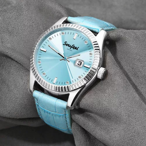 Soufeel Women's Swarovski Crystal Watch Light Blue Leather Strap 38.5mm<