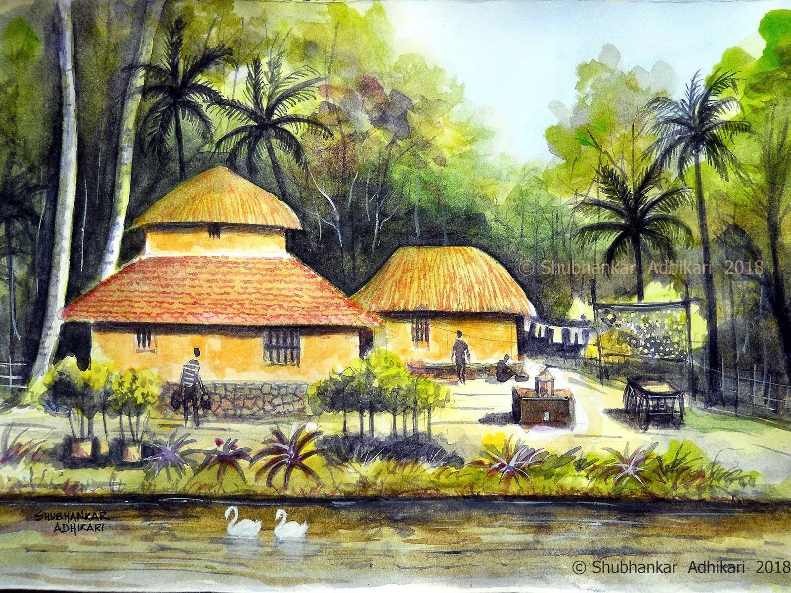 Artworks by Shubhankar Adhikari: Rural Bengal       an